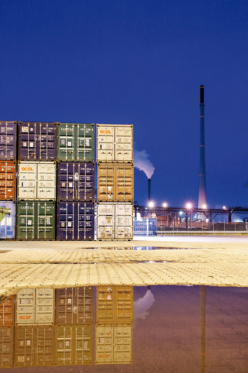 containers at night